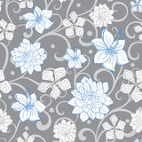Vector Gray Sky Blue Swirl Florals Seamless Royalty Free Stock Photo