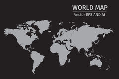 Vector Gray World map on black background. Using NASA map for reference https://ams.nasa.gov/AMS_Collaboration_List.html Royalty Free Stock Images