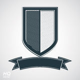 Vector grayscale defense shield with curvy ribbon, protection design graphic element. Stock Image