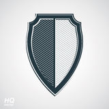Vector grayscale defense shield, protection design graphic element. Stock Photography