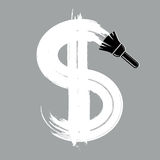Vector grayscale dollar sign created with paintbrush, simple  Royalty Free Stock Images