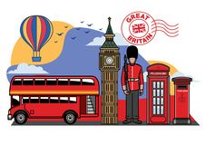 Great britain icon city set. Vector of great britain icon city set vector illustration