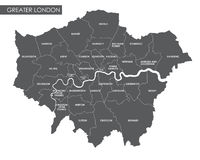 Vector Greater London administrative map royalty free illustration