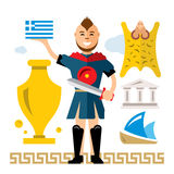 Vector Greece Concept. Flat style colorful Cartoon illustration. Argonaut with sword. Isolated on a white background Royalty Free Stock Photo