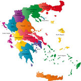 Vector Greece map. Greece map designed in illustration with the regions colored in bright colors and with the main cities. Neighbouring countries are in an