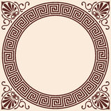 Vector Greek background. Vector Greek style background. Circular frame. Brown pattern on a beige background Royalty Free Stock Photography