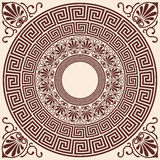 Vector Greek background. Vector Greek style background. Circular ornament. Brown pattern on a beige background Royalty Free Stock Images