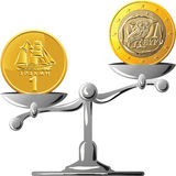 Vector Greek drachma versus the euro Royalty Free Stock Photo