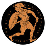Vector Greek drawing. Amazon. Ancient Greek warrior woman. Vector illustration Royalty Free Stock Images