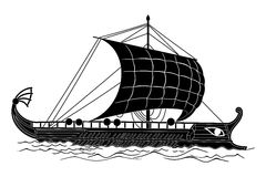 Vector Greek drawing. Ancient Greek ship with oars and sails on the sea waves Royalty Free Stock Photos