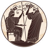 Vector Greek drawing. Greek woman holds a cup in his hands and old man with a staff Vector Image Royalty Free Stock Photography