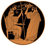 Vector Greek drawing. Greek woman holds a cup in his hands and old man with a staff Vector Image Royalty Free Stock Image