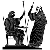 Vector Greek drawing. Greek woman holds a cup in his hands and old man with a staff Vector Image Stock Image