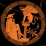 Vector Greek drawing. Vector illustration in ancient Greek style. Mythical plot is King Oedipus and Sphinx Stock Photo