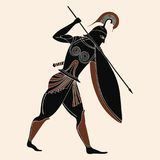 Vector Greek drawing. Vector illustration in ancient Greek style. Warrior Greek in armor with a spear in his hands Stock Photos