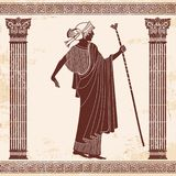 Vector Greek drawing. Vector illustration in ancient Greek style. Greek woman. Goddess Artemis with a staff Royalty Free Stock Image