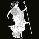 Vector Greek drawing. Vector illustration in ancient Greek style. Greek woman. Goddess Artemis with a staff and the forest doe Stock Photography