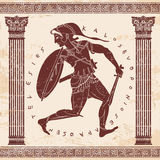 Vector Greek drawing. Greek style drawing Amazon. Ancient warrior woman Royalty Free Stock Photos