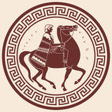 Vector Greek drawing. Greek style drawing. Soldier in uniform with a cape riding a horse Stock Images