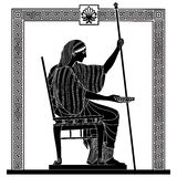 Vector Greek drawing. Greek woman holds a cup in his hands. Vector Image Royalty Free Stock Photos