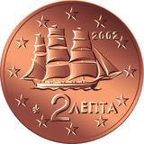 Vector Greek money bronze coin two euro cent. Greek money bronze coin two euro cent with the image of A corvette of the early 19th century Stock Photo