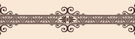 Vector Greek ornament. Seamless vintage ornament with elements of Greek style. Brown pattern on a beige background Royalty Free Stock Photography