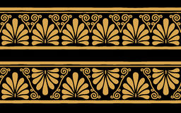 Vector Greek ornament. Set of seamless vintage Greek ornament. Golden pattern on a black background Royalty Free Stock Photo