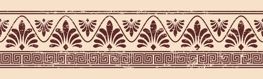 Vector Greek ornament. Greek style seamless ornament with aging effect. Brown pattern on a beige background Royalty Free Stock Photography