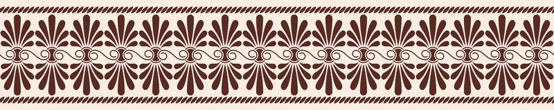 Vector Greek ornament. Greek style seamless ornament. Brown pattern on a beige background Stock Photos