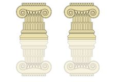 Greek Capital. Vector Greek ration. Temple of the Olympians with columns and graphic elements Royalty Free Stock Photos