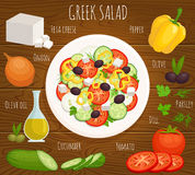 Vector greek salad recipe. Greek salad recipe with ingredients. Top view. Vector illustration. Sliced vegetables on white plate on a wooden table Royalty Free Stock Photo