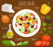 Vector greek salad recipe. Royalty Free Stock Photo
