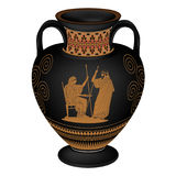 Vector Greek vase. Set of silhouettes of vintage Greek vases with national ornaments isolated on white background Stock Image