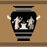 Vector Greek vase. Vector vintage Greek vase with national ornaments and picture of a man and woman committing a sacrificial rite Stock Photo