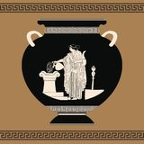 Vector Greek vase. Vector vintage Greek vase with national ornaments and a picture of a woman committing a sacrificial rite Royalty Free Stock Photography
