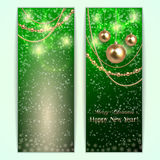 Vector green abstract Christmas and New Year Royalty Free Stock Photo