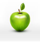 Vector green apple with green leaf isolated Stock Photography