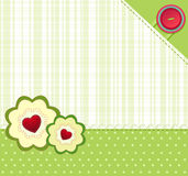 Vector green background with buttons. And two flowers with hearts Royalty Free Stock Photography