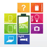 Vector green battery infographic Stock Photo