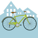 Vector green bicycle with city view Stock Photo