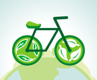 Vector green bicycle with recycle signs Royalty Free Stock Images
