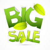 Vector Green Big Sale Sticker - Label with Leaves Stock Photography