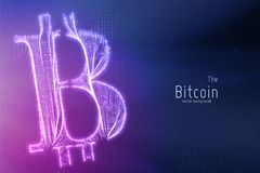 Vector green Bitcoin symbol constructed with growing lines. Bitcoin, blockchain transfer. Computer code representation Royalty Free Stock Photo