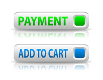 Vector green and blue payment button Royalty Free Stock Photos