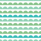 Vector Green Blue Scallops Stripes Seamless repeat Pattern Geometric Design. Great for nursery wallpaper, nautical Stock Image