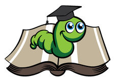 Vector green bookworm in the hat Stock Images