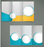 Vector green brochure layout design with yellow el. Ements, business three fold flyer template. illustration Stock Photo