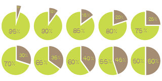 Vector green and brown 5, 10, 15, 20, 25, 30, 35, 40, 45, 50 percent pie diagrams. Set of circle diagrams on white vector illustration