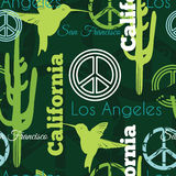 Vector Green California Animals Travel Seamless Pattern with Los Angeles, San Francisco, Hummingbirds, and Peace Symbols Stock Images