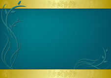 Vector green card with flora. Green  card with flora - vector illustration Stock Photography